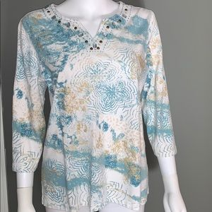 Alfred Dunner Womans Quarter Sleeve Top SZ.S
